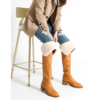 Knee high leather boots flat